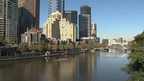 Eureka tower tilt to the yarra river Footage