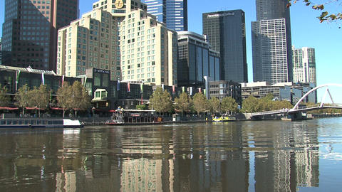 Ferry at the Yarra river Stock Video Footage