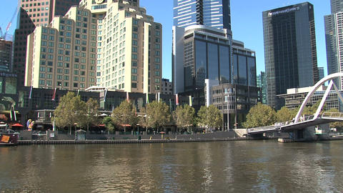 Tilt Eureka tower to yarra river Footage