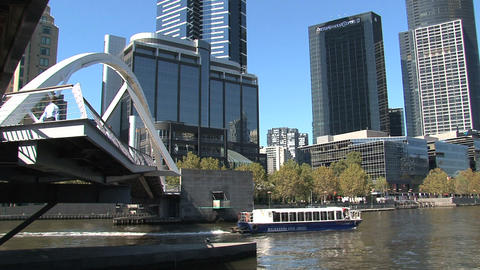Ferry at the yarra river in Melbourne Stock Video Footage