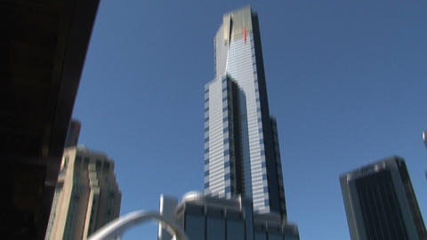 Tilt Eureka tower to yarra river in Melbourne Footage