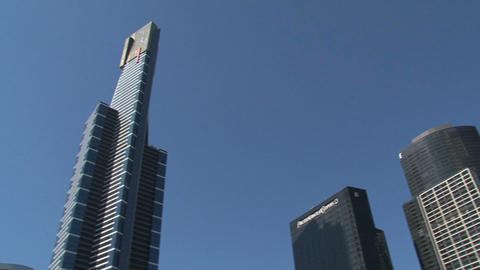 Skyscrapers pan in Melbourne Stock Video Footage