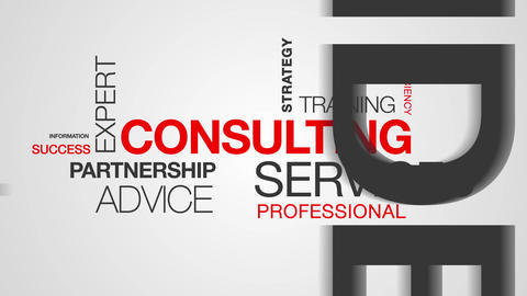 Consulting Word Cloud Animation Stock Video Footage