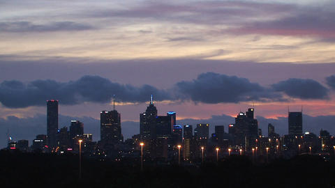 Melbourne skyline in the evening Footage