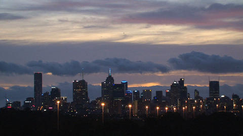 Melbourne skyline in the evening Stock Video Footage