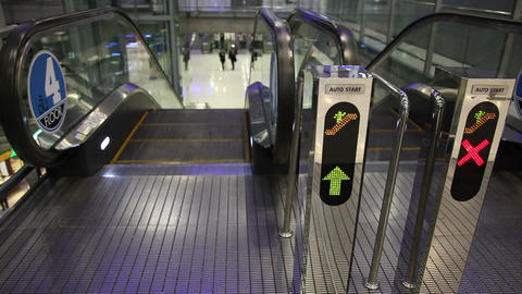 Sign in escalator Stock Video Footage