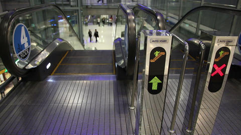 Sign In Escalator stock footage