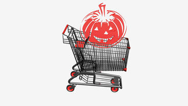 Shopping Cart With Pumpkins,Halloween.retail,buy,cart,shop,basket,sale,supermarket,market,mall, stock footage