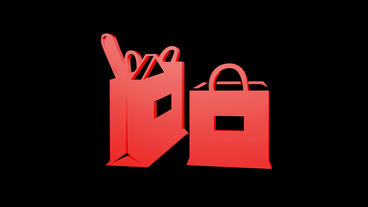 Rotation Of 3D Shopping Bags.spending,shopping-mall,commercial,birthday,gift,box,bow,christmas,xmas stock footage