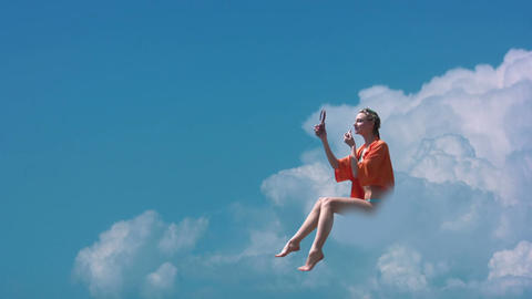 Girl on a cloud Stock Video Footage