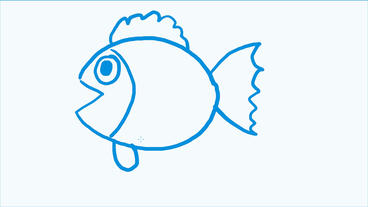 cartoon blue fish spit bubbles,Hand-painted video material.Aquarium,tropical fis Animation