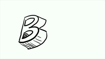 3d letter B,Hand drawing video... Stock Video Footage