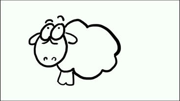 Children paintings of cartoon sheep,mutton,Hand painted... Stock Video Footage