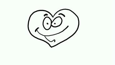 drawing of cartoon heart human take baton,Hand painting video material,sketch.qu Animation