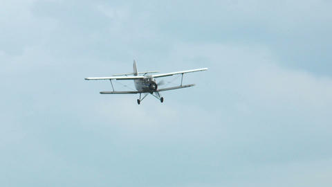 historic antonov an-2 biplane landing Stock Video Footage