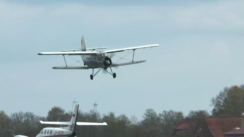 historic antonov an-2 biplane landing Footage