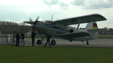 historic antonov an-2 biplane rolling to park position Live Action