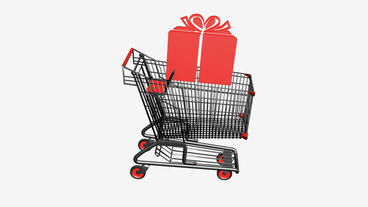 Shopping cart with gift... Stock Video Footage