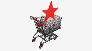 Shopping cart with the Five-pointed... Stock Video Footage