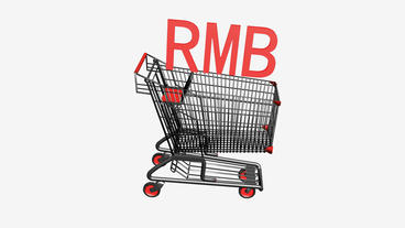 Shopping Cart with RMB china money.retail,buy,cart,shop,basket,sale,discount,sup Animation