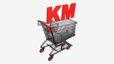 Shopping Cart with KM Convertible Marka... Stock Video Footage
