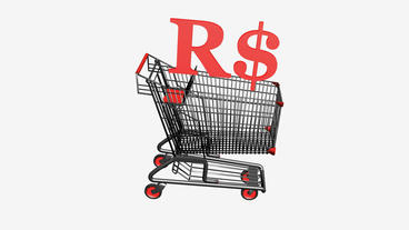 Shopping Cart with R$ Reais money.retail,buy,cart,shop,basket,sale,discount,supe Animation