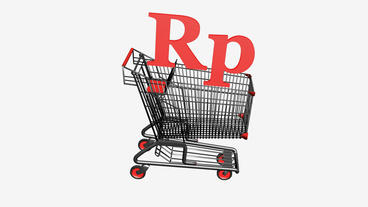Shopping Cart with Rp Rupiahs money.retail,buy,cart,shop,basket,sale,discount,su Animation