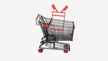 Shopping Cart and Toothbrush.retail,buy,cart,shop,basket,sale,supermarket,market Animation