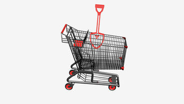 Shopping Cart and Shovel.retail,buy,cart,shop,basket,sale,customer,supermarket,m Animation