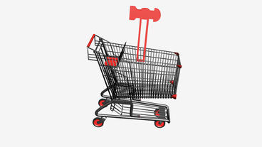Shopping Cart and Hammer.retail,buy,cart,shop,basket,sale,supermarket,market,mal Animation