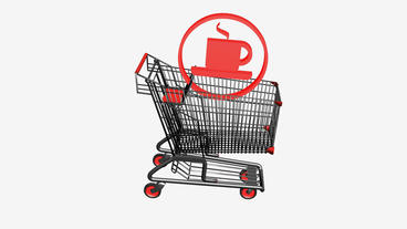 Shopping Cart and Tea Coffee.retail,buy,cart,shop,basket,sale,supermarket,market Animation