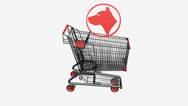 Shopping Cart And Dog.retail,buy,cart,shop,basket,sale,supermarket,market stock footage