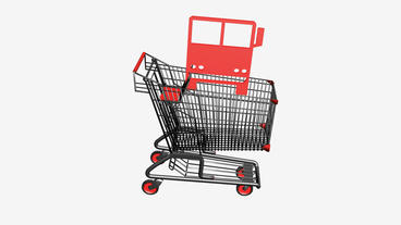 Shopping cart and transport car.retail,buy,cart,design,shop,basket,sale,customer Animation