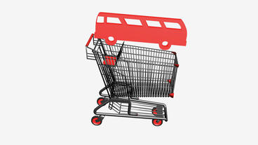 Shopping cart and transport Bus.retail,buy,cart,design,shop,basket,sale,customer Animation