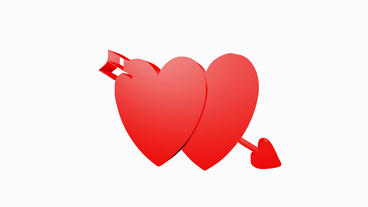 Rotation of heart.bow,arrow,love,red,symbol,heart,valentine,romance,illustration Animation
