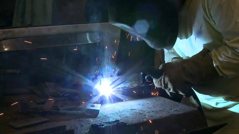 welder side shot Stock Video Footage
