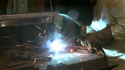 welder side shot Stock Video Footage