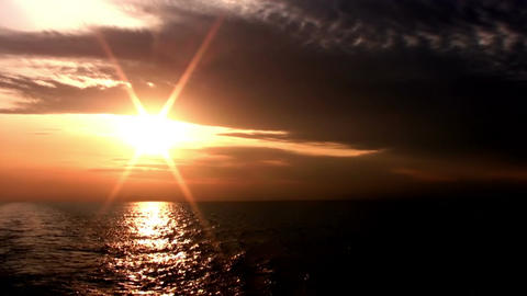 Sunset in the endless sea Stock Video Footage