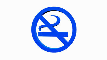 Rotation Of 3D No Smoking.cigarette,forbidden,symbol,sign,stop,warning,hazard,health,icon,tobacco,ad stock footage