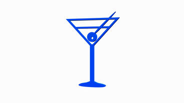 Rotation of 3D Cocktail glass.alcohol,wine,drink,beverage,liquor,martini,vodka,w Animation