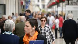 People walking in Malaga city Footage