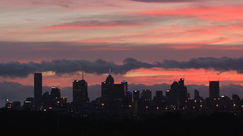 Melbourne time lapse from purple sunset to dark Stock Video Footage