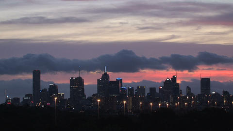 Melbourne time lapse from purple sunset to dark Footage