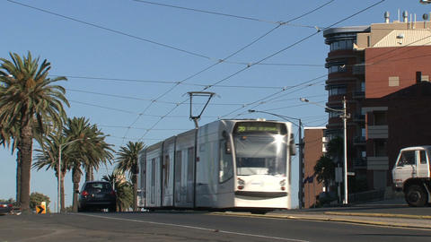 Tram leaving Stock Video Footage