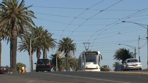 Tram arriving Stock Video Footage