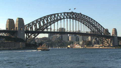 Harbour bridge with ferry leaving Footage
