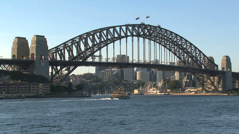 Harbour bridge with ferry leaving Stock Video Footage