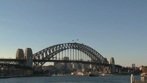 Harbour bridge slow zoom out Stock Video Footage