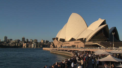 Crowd near the Sydney Opera House Stock Video Footage