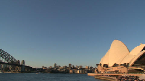 Pan from Sydney Harbour Bridge to the Opera House Footage